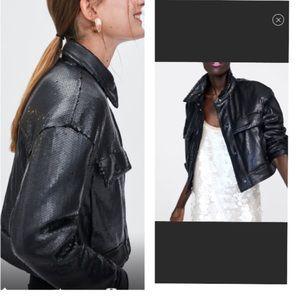ZARA black sequins puffy jacket ♻️
